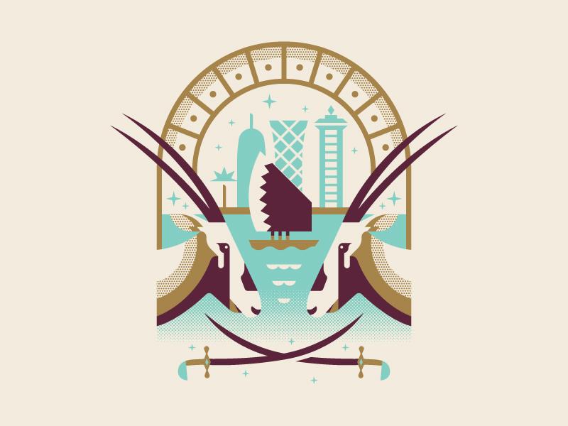 Oryx Battle swords illustration crest logo badge doha oryx