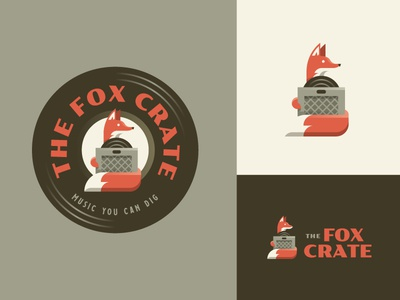 The Fox Crate branding logo music vinyl records badge illustration fox