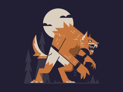 Werewolf flat sticker moon illustration creature october halloween werewolf