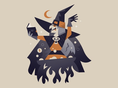 Witch Brew october potion spell magic cauldron brew witch flat illustration halloween