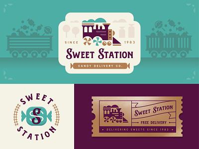 Sweet Station ticket train badge logo branding candy station sweet illustration