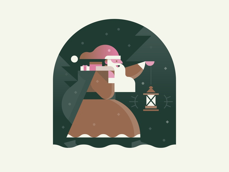 Winter Traveler winter holiday forest beard gifts illustration traveler santa christmas