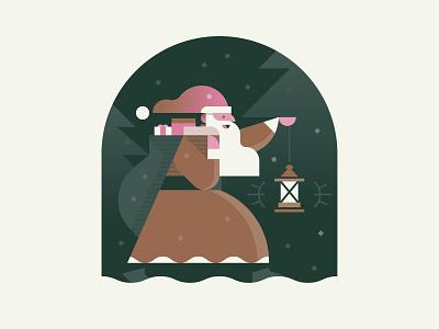 Winter Traveler winter holiday forest beard gifts illustration traveler santa christmas