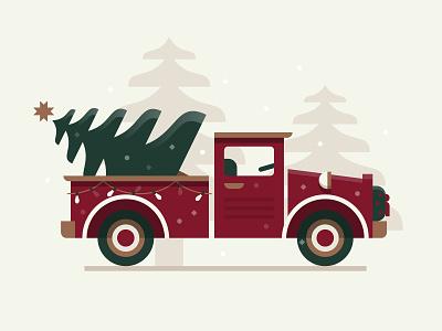 Christmas Haul snow winter vintage tree truck christmas illustration