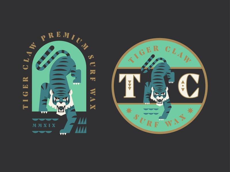 Tiger Claw surf badge logo illustration branding tiger