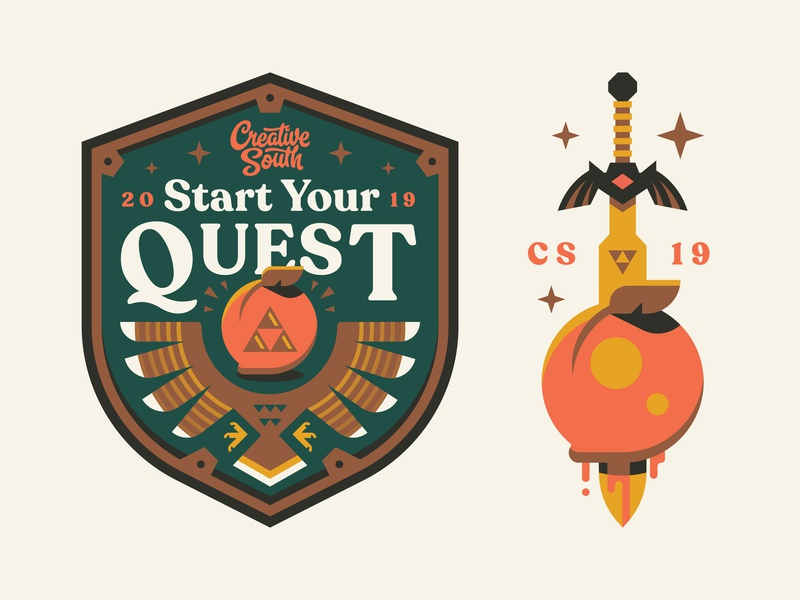 CS19 Quest peach gaming quest adventure sword shield south creative zelda logo badge illustration