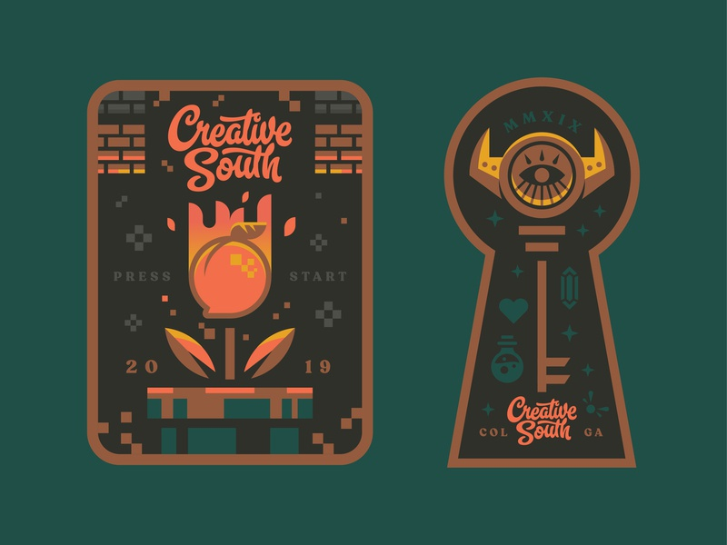 CS19 Round 2 adventure illustration powerup nintendo mario zelda key retro gaming logo badge peach