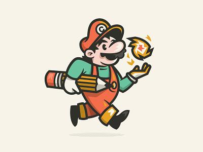 Creative Plumber designer artist character nintendo videogame super mario illustration mascot