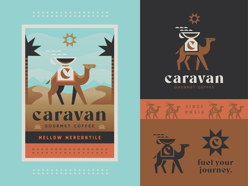 Caravan Coffee desert branding packaging camel coffee design logo badge illustration