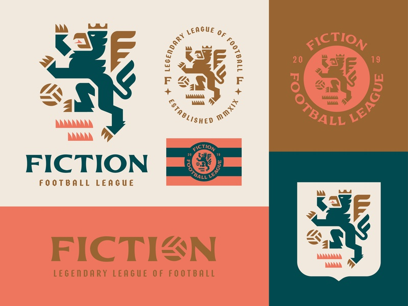 Fiction Football League league sports fiction gryphon illustration badge crest logo branding soccer