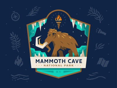 Mammoth Cave National Park prehistoric kentucky mammoth cave explore outdoor park national logo badge illustration