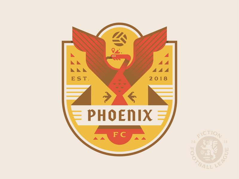 Phoenix FC wings fire bird phoenix sports football crest soccer logo badge illustration