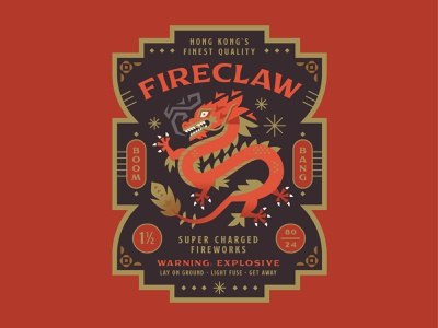 Fireclaw Fireworks packaging badge fire illustration chinese dragon holiday fireworks