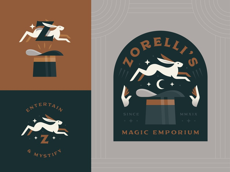 Zorelli's Magic Emporium rabbit brand magician hat magic vector logo badge illustration