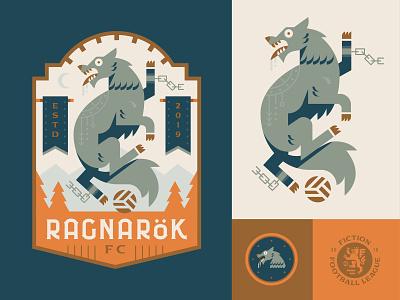 Ragnarok FC ragnarok mythology viking norse wolf sports football crest soccer logo badge illustration