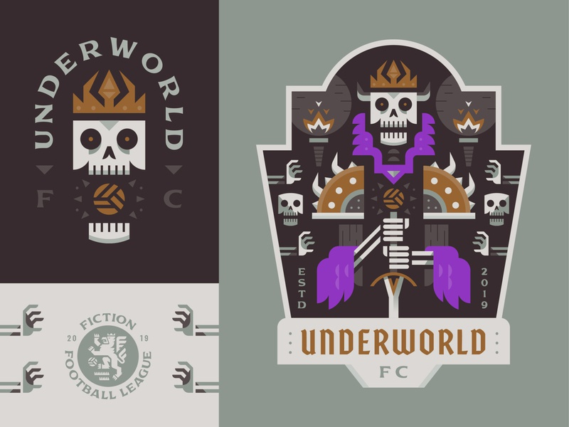 Underworld FC underworld dead lich skeleton vector sports football crest soccer logo badge illustration