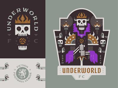 Underworld FC underworld dead lich skeleton vector sports football crest soccer logo badge illustration