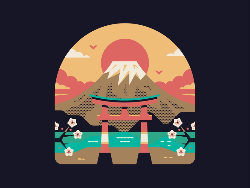 Mt Fuji japan fuji mountain tokyo vector logo badge illustration