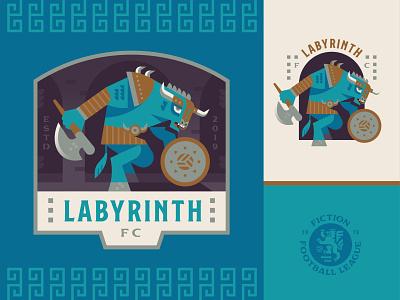 Labyrinth FC bull mythology labyrinth minotaur sports football crest soccer logo badge illustration