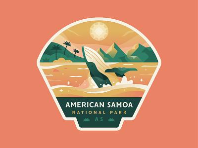American Samoa island whale outdoors explore national park samoa american logo badge illustration
