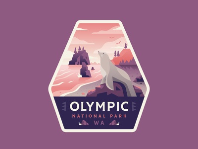 Olympic adventure washington seal beach outdoors explore park national badge illustration