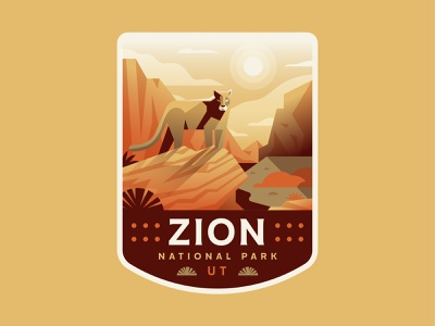 Zion explore outdoors nature utah lion mountain nationalpark zion patch badge illustration