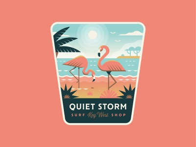Quiet Storm Flamingo ocean world adventure travel tropical beach surf flamingo logo badge