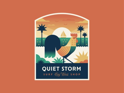 Quiet Storm Rooster travel beach florida sunset boat rooster surf patch logo badge illustration