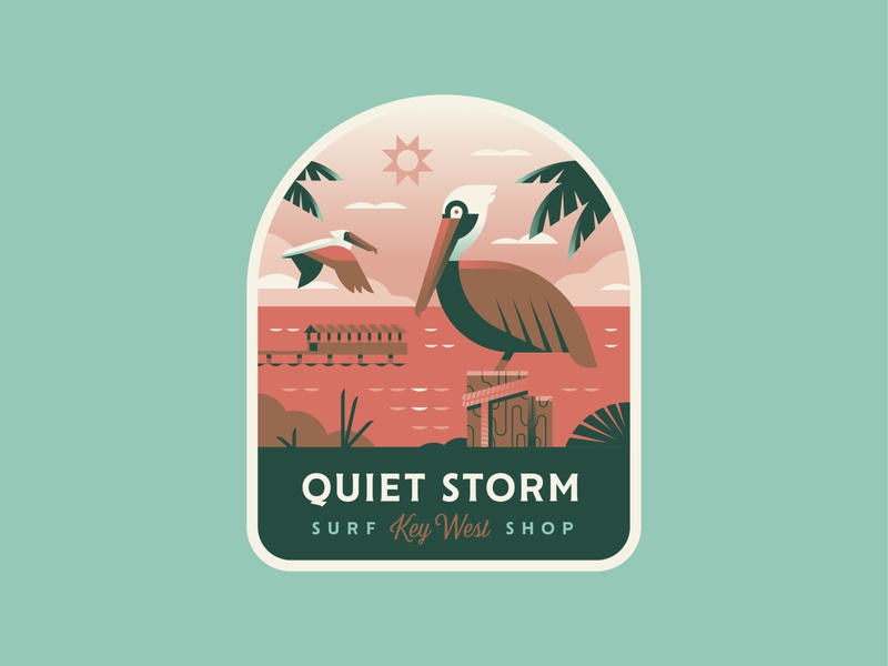 Quiet Storm Pelican explore travel surf florida coast pelican ocean patch logo badge illustration