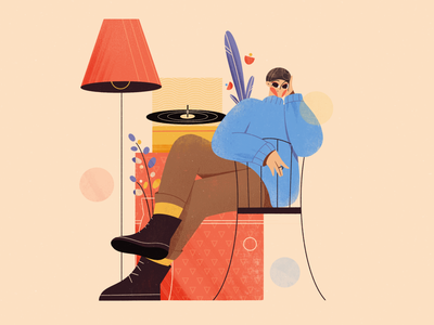 The girl and vinyl color palette love girl blog illustration web illustration explainer character design interior home music vinyl chilling cozy girl character texture art character procreate flat illustration illustration