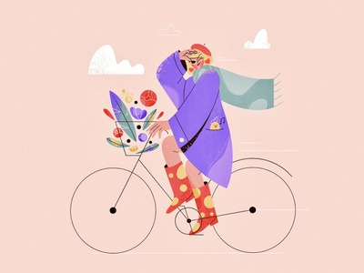 Looking for the spring pastel riding rain boots coat vector bird flowers graphic character design color palette 2d character explainer purple blog illustration love girl character texture procreate flat illustration spring