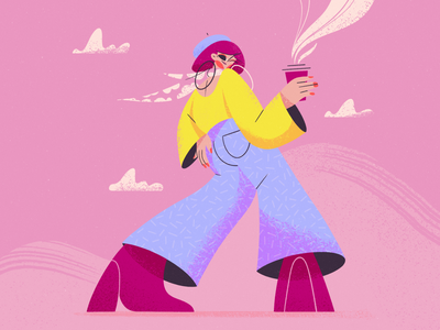 Coffee Break DTIYS challenge brunch fashion colors shapes cute relax coffee spring vector explainer girl purple character design blog illustration girl character character procreate texture flat illustration illustration