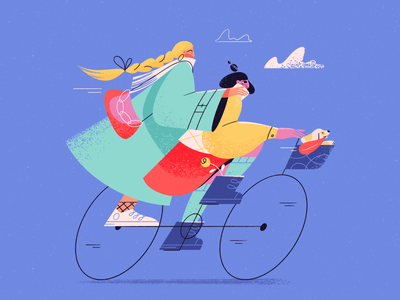 Girls On A Bike friends weekend activity joy dog cycling bike spring explainer vector 2d character character design blog illustration girl character art character texture procreate flat illustration illustration