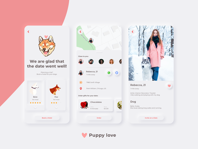 Puppy love illustration app icon typography vector design ux