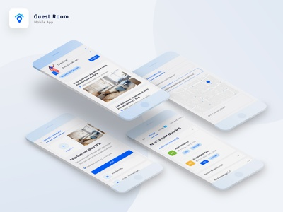 GuestRoom App Designs blue design booking app ux bookings mobile ui mobile