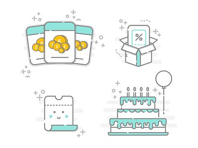 Booksy mini illustrations I design graphic freelance job hire work identity branding logo icons illustration