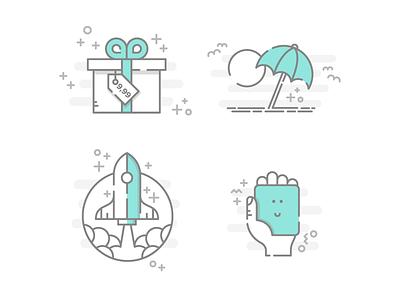 Booksy mini illustrations II illustration icons logo branding identity work hire job freelance graphic design