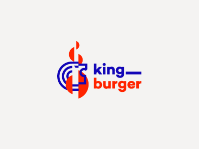 King Burger Logo pt I / For Sale freelance branding king animal symbol mark identity menu bar restaurant lion burger