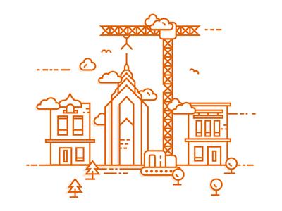 Site is under construction illustration under construction identity branding art logo design web city philadelphia building illustration