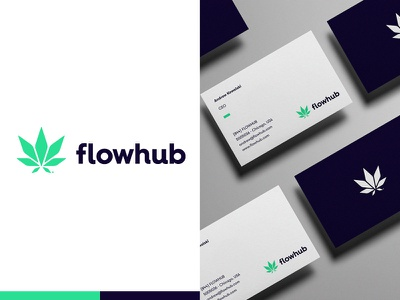 Flowhub logo studio brand agency hire work graphic marijuana leaf symbol sign design corporate identity branding brand mark logo