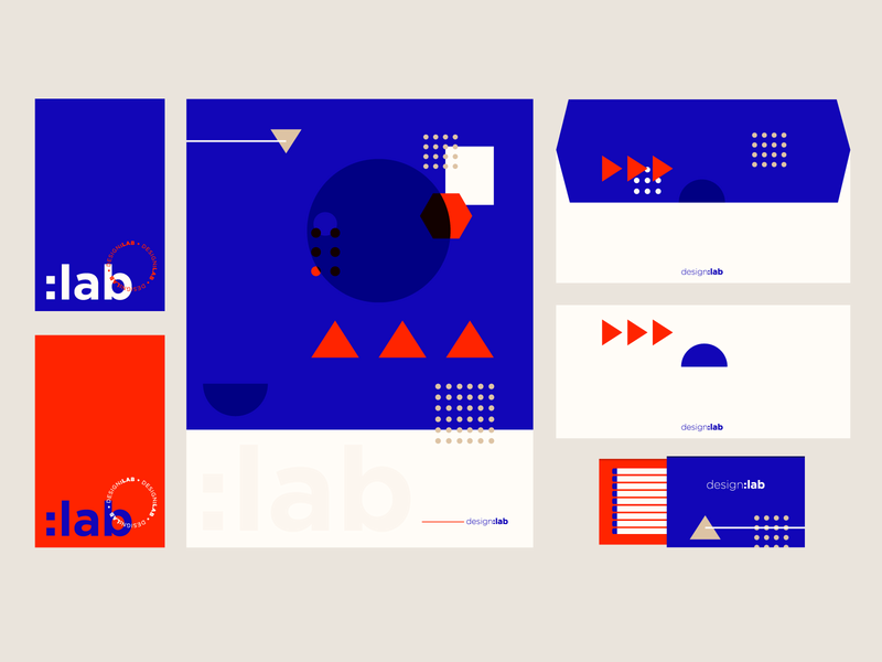 Design:Lab Identity pt. I mark logotype letterhead business card red blue glyph icon stationery shapes geometric minimalism materials print graphic identity visual branding brand logo