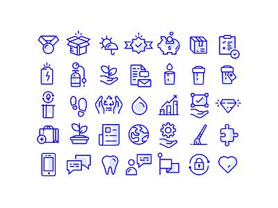 Icon set freelance illustration symbol identity branding vector job hire work logo art artwork icons blue grid graphic design set marijuana icon