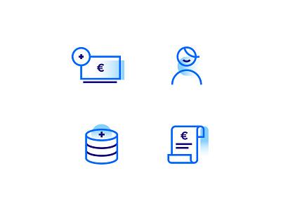 Icon set blue design icon set icons icon money