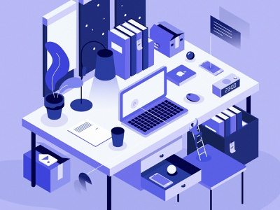Work Struggle Illustration ui vector graphic design isometric iso illustration desk work