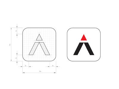 Trail app icon design hiking climbing arrow mountain logo design logo grid logo grid design grid isotipo isotype icon design flat design flat application icono icon app icon design app icon app