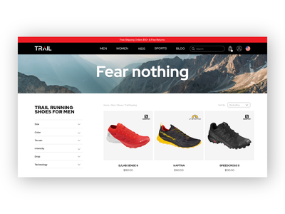Trail website - Product category clean ui clean ui ux ui  ux product display product catalogue product page web designer sports website fear nothing running shoes shoes ui design ui trail running trail ecommerce web design web website design website