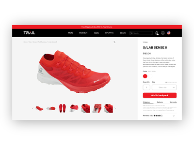 Trail website - Product page ecommerce shop ecommerce design ecommerce shoes trail running shoes running shoes running clean ui design clean ui web designer website design web design website web ui  ux ui design ui product page trail running trail