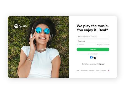 Spotify login page - Dribbble Weekly Warmup sign in minimal uidesign uiux ui  ux ui design ui dribbbleweeklywarmup login design login screen login page spotify