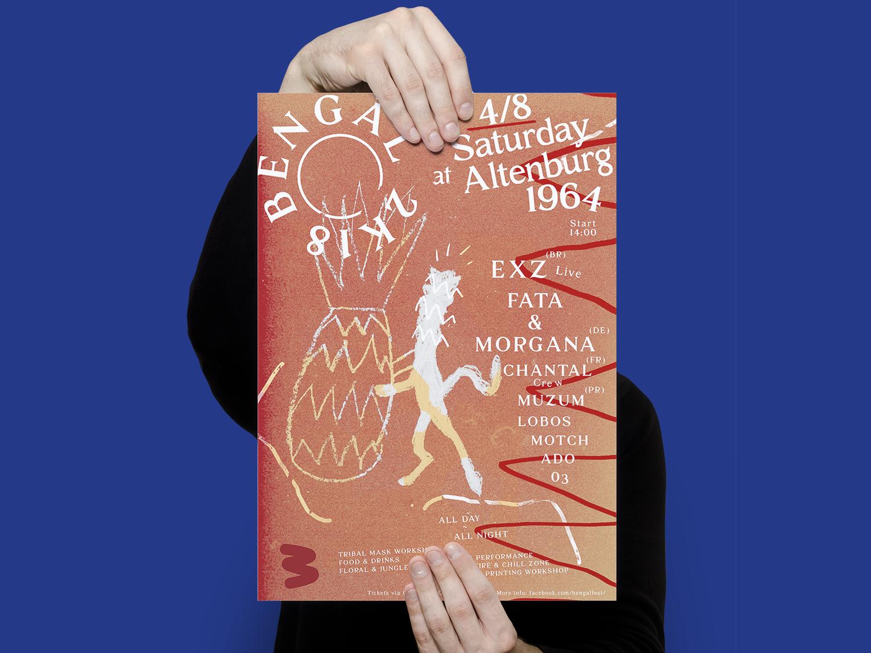 Poster & Visuals for Bengál festival 2018 / Prague roots rustic nature red djs performance music art event vibes house tropical techno music festival illustration prague poster design