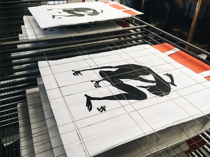 Bengal silkscreen printed bags vector black prague illustration print graphic bag design silkscreen bag design